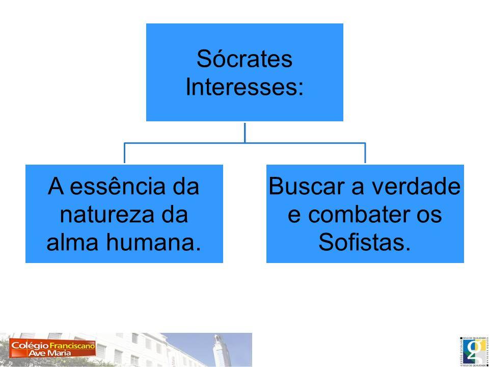 Sócrates Interesses: A essência da natureza da alma humana. Buscar a verdade e combater os Sofistas.