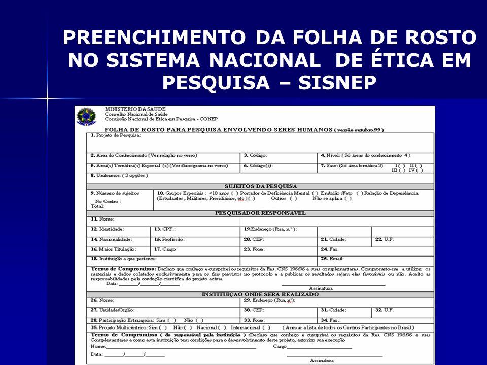 PREENCHIMENTO DA FOLHA DE ROSTO NO SISTEMA NACIONAL DE ÉTICA EM PESQUISA – SISNEP