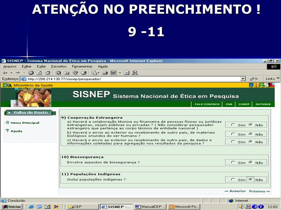 ATENÇÃO NO PREENCHIMENTO ! 9 -11