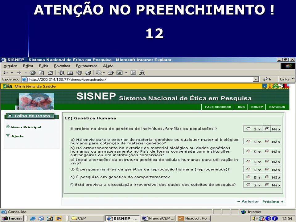 ATENÇÃO NO PREENCHIMENTO ! 12
