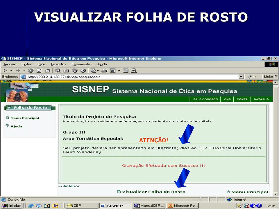 VISUALIZAR FOLHA DE ROSTO ATENÇÃO!