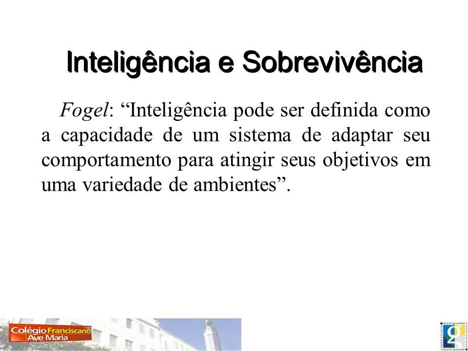 Fogel: Inteligência pode ser definida como a capacidade de um sistema de adaptar seu comportamento para atingir seus objetivos em uma variedade de amb