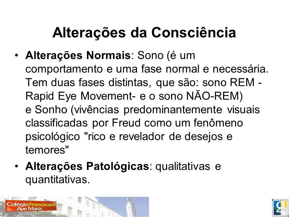 Alterações da Consciência Alterações Normais: Sono (é um comportamento e uma fase normal e necessária. Tem duas fases distintas, que são: sono REM - R