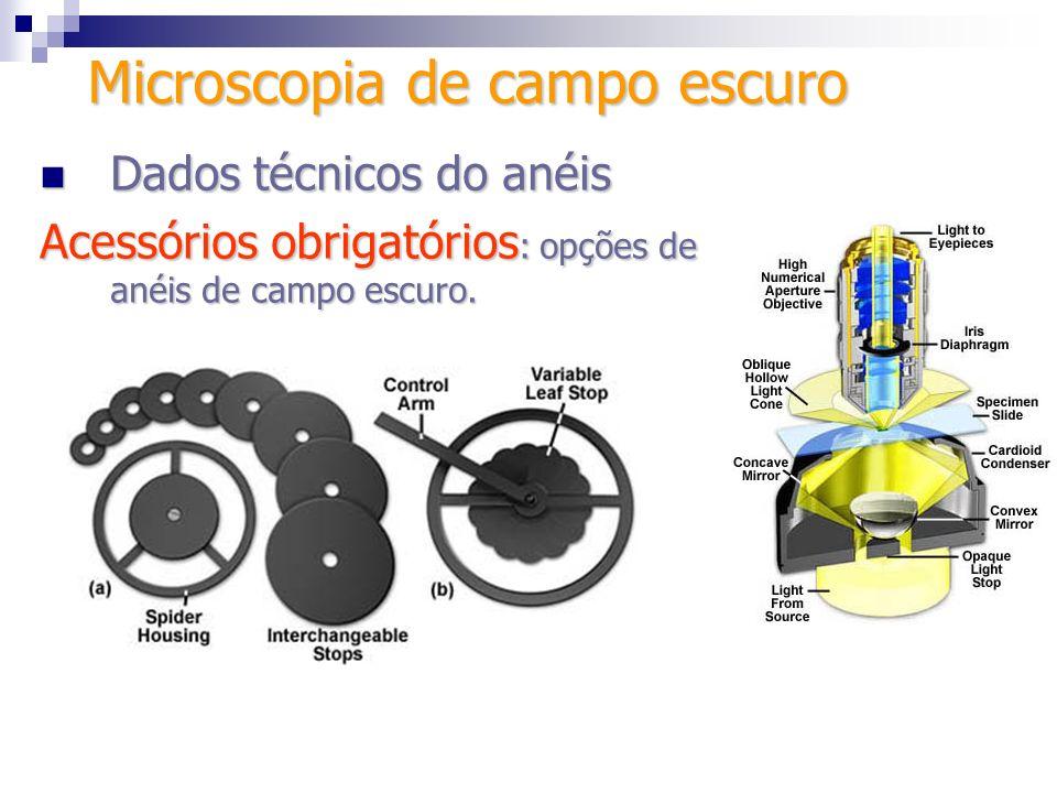 Dados técnicos do anéis Dados técnicos do anéis Acessórios obrigatórios : opções de anéis de campo escuro. Microscopia de campo escuro