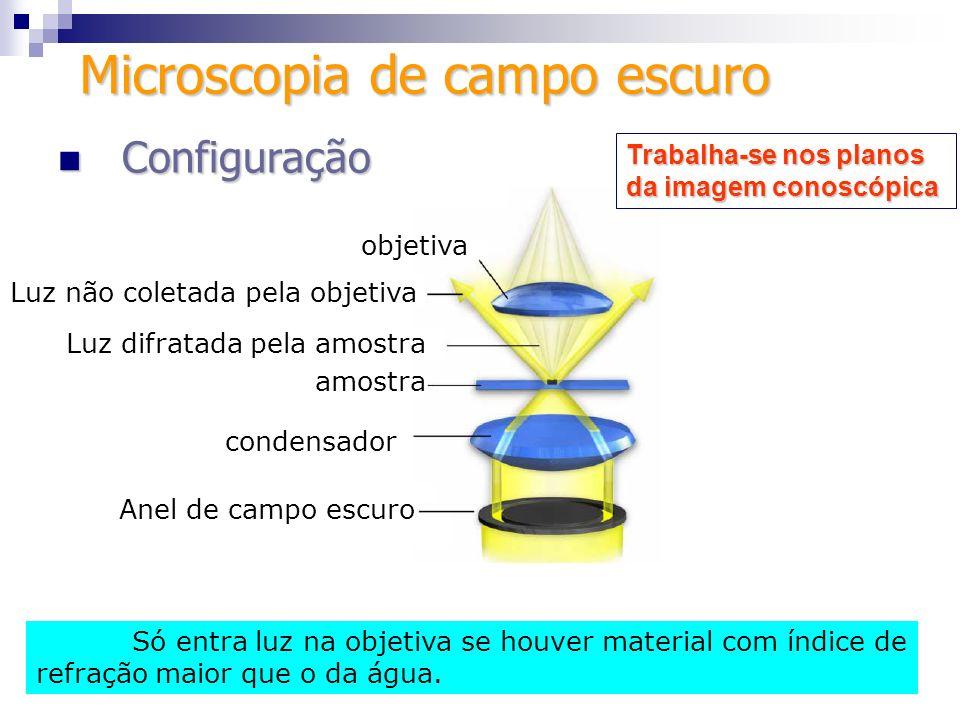 Configuração Configuração condensador Microscopia de campo escuro objetiva Luz não coletada pela objetiva Luz difratada pela amostra amostra Anel de c