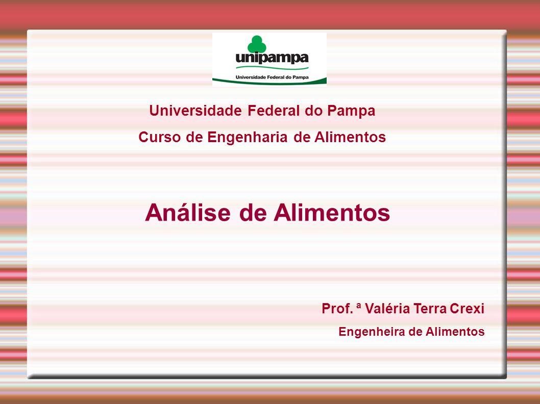 Universidade Federal do Pampa Curso de Engenharia de Alimentos Análise de Alimentos Prof. ª Valéria Terra Crexi Engenheira de Alimentos