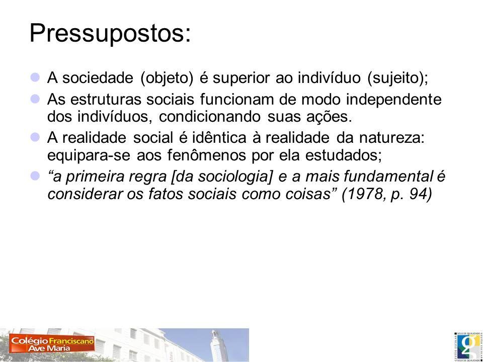 Pressupostos: A sociedade (objeto) é superior ao indivíduo (sujeito); As estruturas sociais funcionam de modo independente dos indivíduos, condicionan
