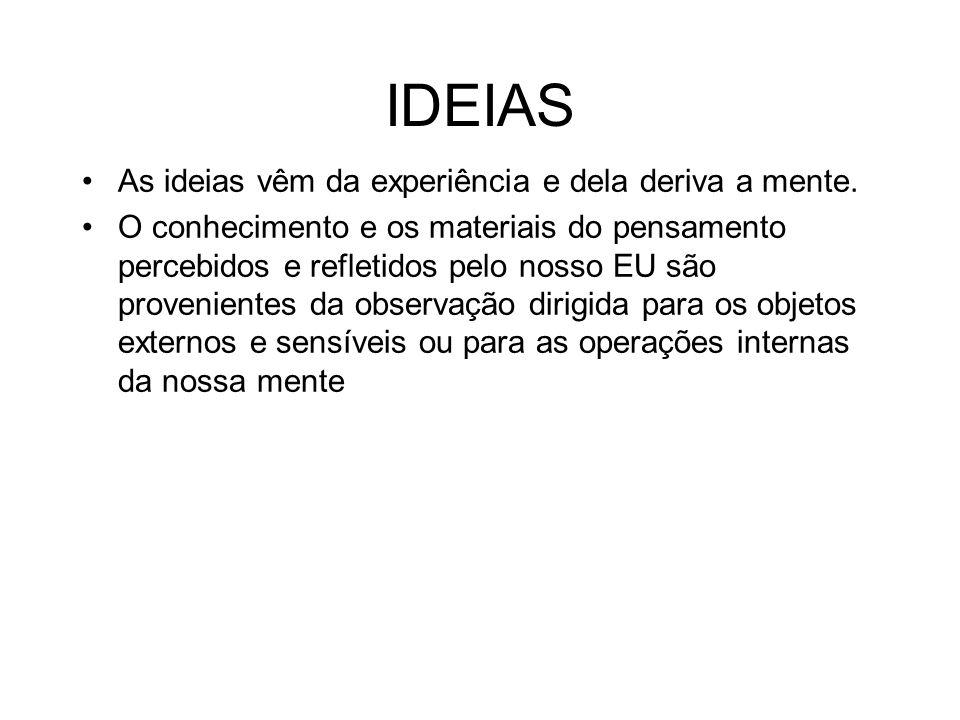 IDEIAS As ideias vêm da experiência e dela deriva a mente. O conhecimento e os materiais do pensamento percebidos e refletidos pelo nosso EU são prove