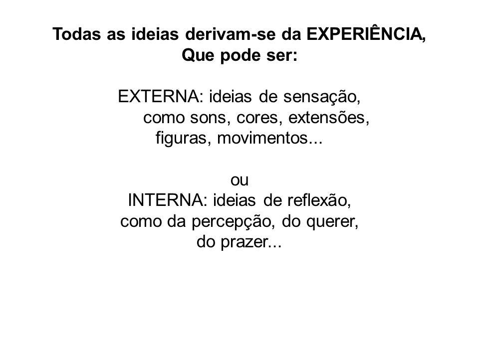 Todas as ideias derivam-se da EXPERIÊNCIA, Que pode ser: EXTERNA: ideias de sensação, como sons, cores, extensões, figuras, movimentos... ou INTERNA: