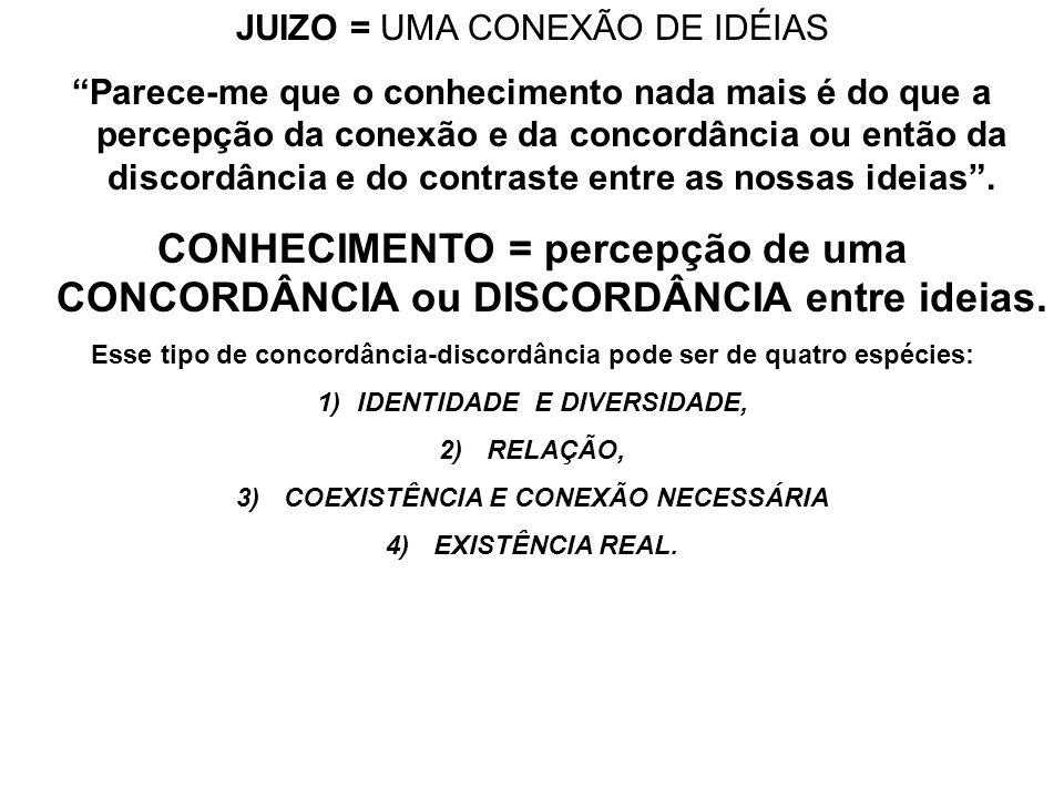JUIZO = UMA CONEXÃO DE IDÉIAS Parece-me que o conhecimento nada mais é do que a percepção da conexão e da concordância ou então da discordância e do c
