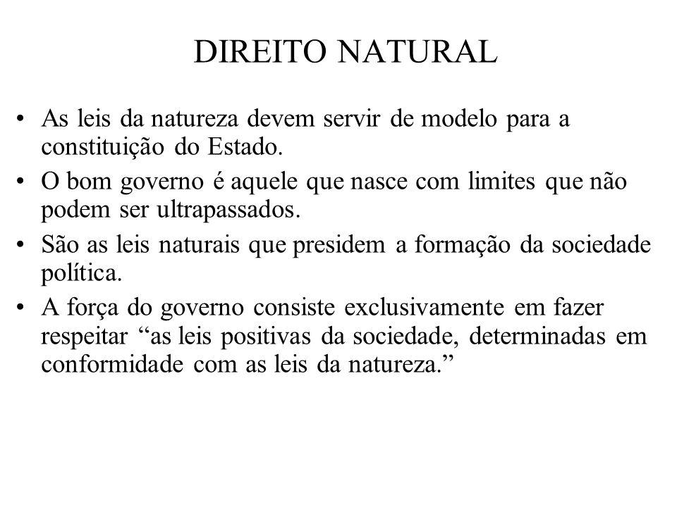 As leis da natureza devem servir de modelo para a constituição do Estado. O bom governo é aquele que nasce com limites que não podem ser ultrapassados