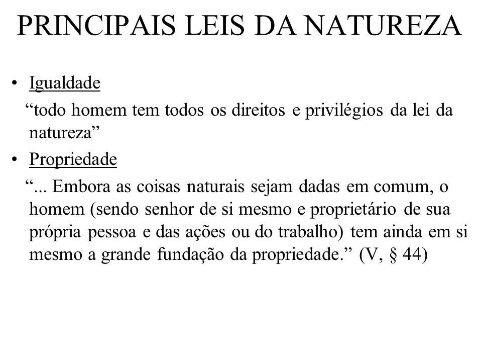 Igualdade todo homem tem todos os direitos e privilégios da lei da natureza Propriedade... Embora as coisas naturais sejam dadas em comum, o homem (se