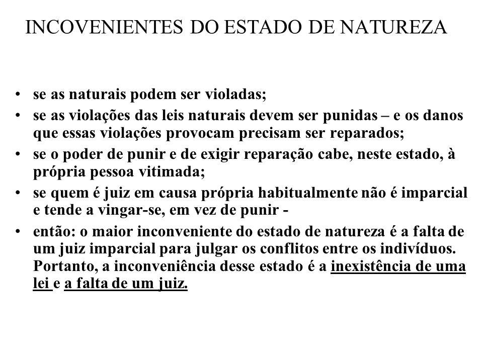 INCOVENIENTES DO ESTADO DE NATUREZA se as naturais podem ser violadas; se as violações das leis naturais devem ser punidas – e os danos que essas viol