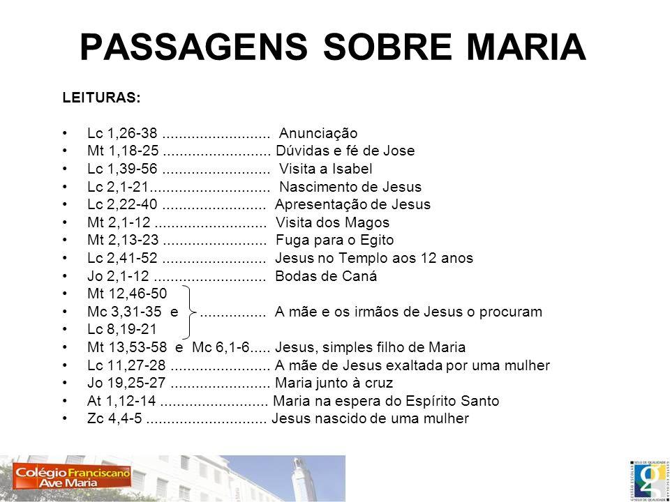 PASSAGENS SOBRE MARIA LEITURAS: Lc 1,26-38.......................... Anunciação Mt 1,18-25.......................... Dúvidas e fé de Jose Lc 1,39-56..