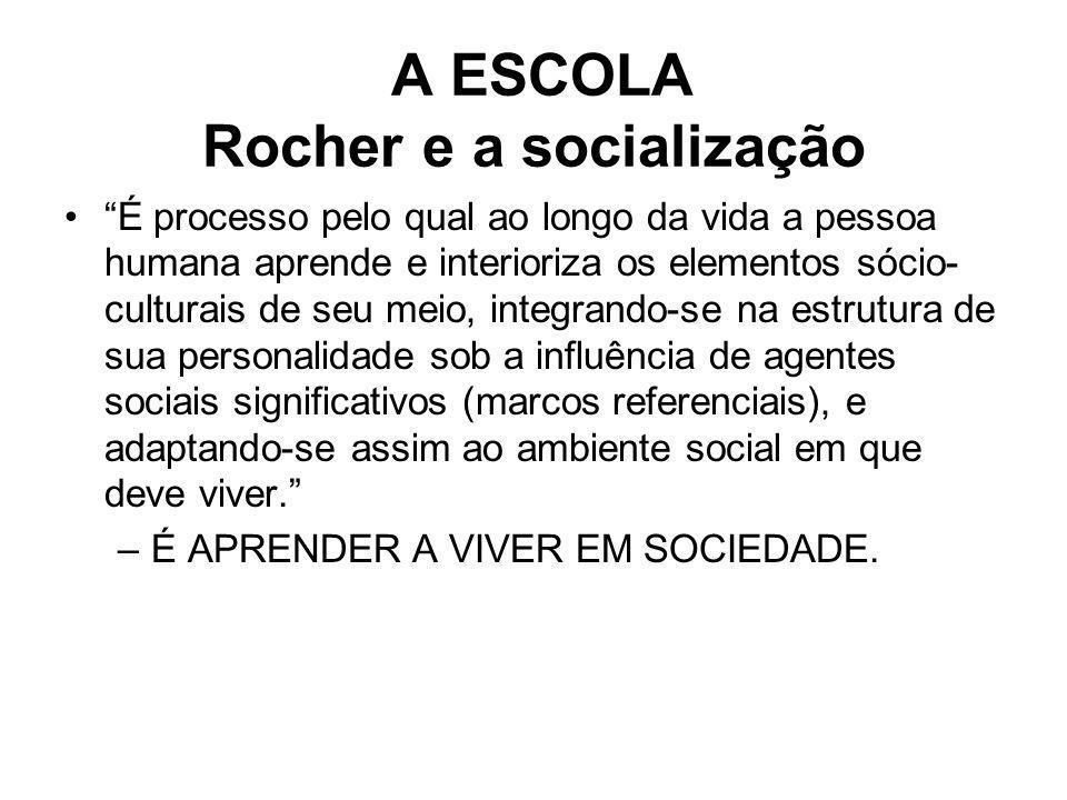 A ESCOLA Rocher e a socialização É processo pelo qual ao longo da vida a pessoa humana aprende e interioriza os elementos sócio- culturais de seu meio