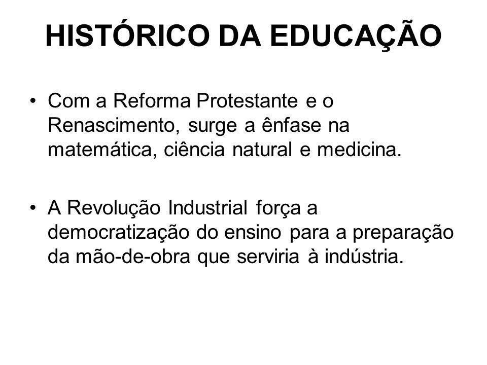 HISTÓRICO DA EDUCAÇÃO Com a Reforma Protestante e o Renascimento, surge a ênfase na matemática, ciência natural e medicina. A Revolução Industrial for