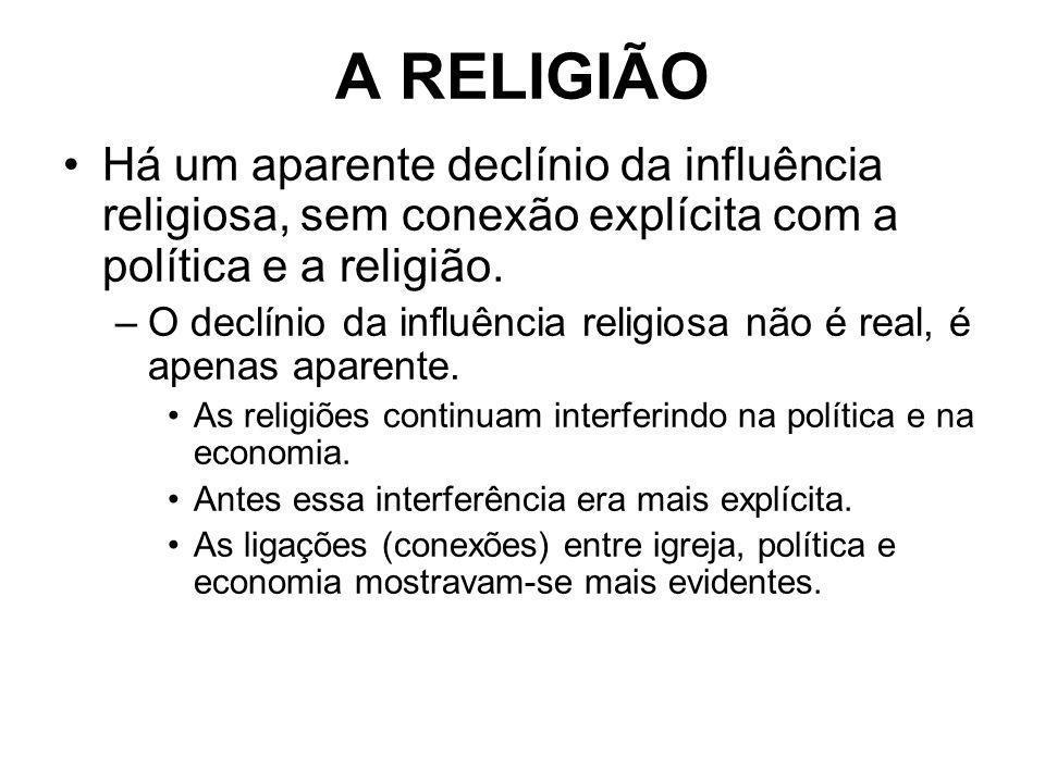 A RELIGIÃO Há um aparente declínio da influência religiosa, sem conexão explícita com a política e a religião. –O declínio da influência religiosa não