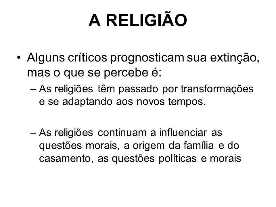 A RELIGIÃO Alguns críticos prognosticam sua extinção, mas o que se percebe é: –As religiões têm passado por transformações e se adaptando aos novos te
