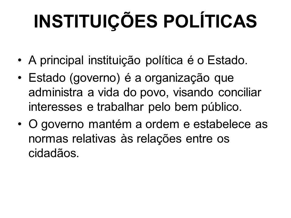 INSTITUIÇÕES POLÍTICAS A principal instituição política é o Estado. Estado (governo) é a organização que administra a vida do povo, visando conciliar