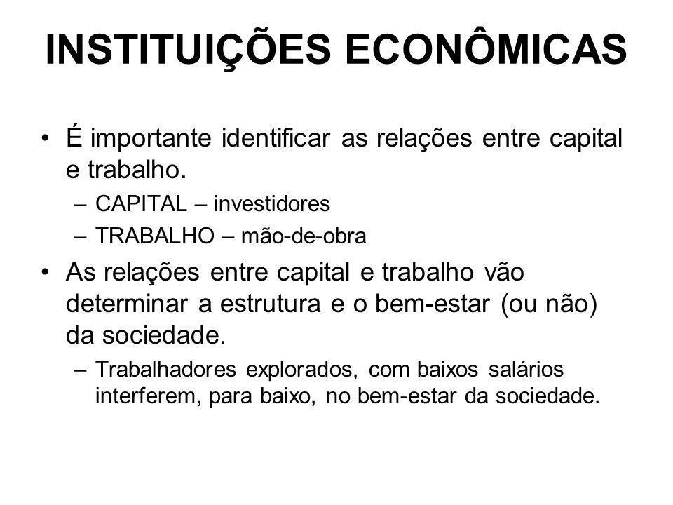 INSTITUIÇÕES ECONÔMICAS É importante identificar as relações entre capital e trabalho. –CAPITAL – investidores –TRABALHO – mão-de-obra As relações ent