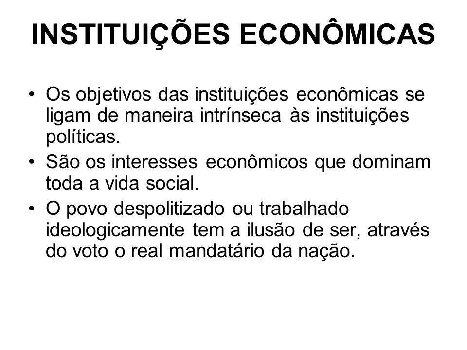 INSTITUIÇÕES ECONÔMICAS Os objetivos das instituições econômicas se ligam de maneira intrínseca às instituições políticas. São os interesses econômico
