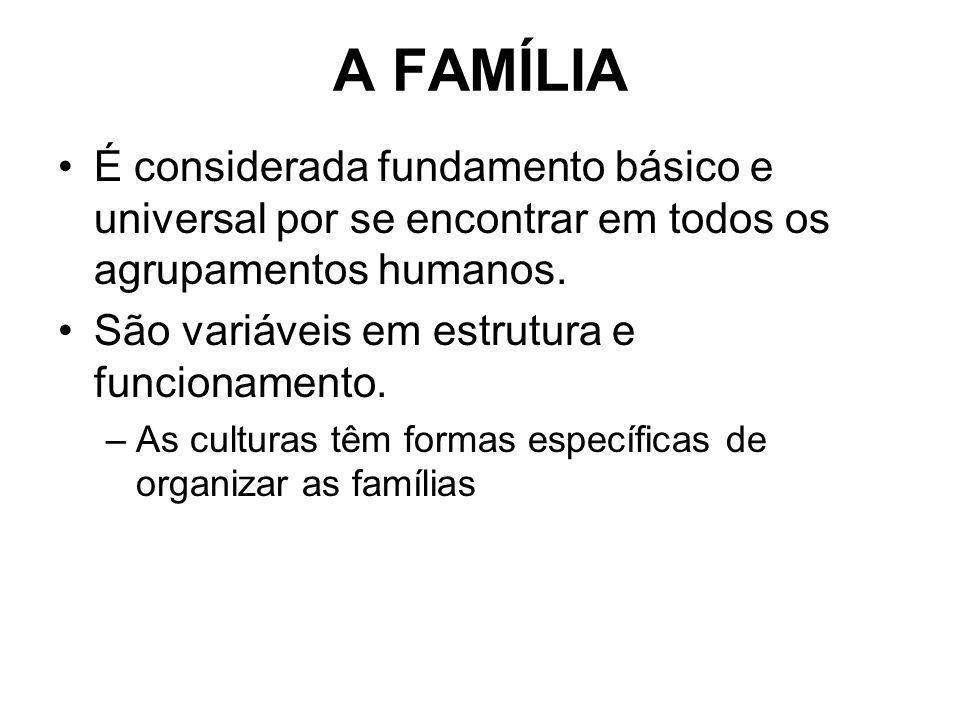 A FAMÍLIA É considerada fundamento básico e universal por se encontrar em todos os agrupamentos humanos. São variáveis em estrutura e funcionamento. –