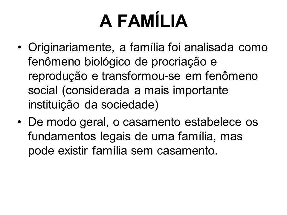 A FAMÍLIA Originariamente, a família foi analisada como fenômeno biológico de procriação e reprodução e transformou-se em fenômeno social (considerada