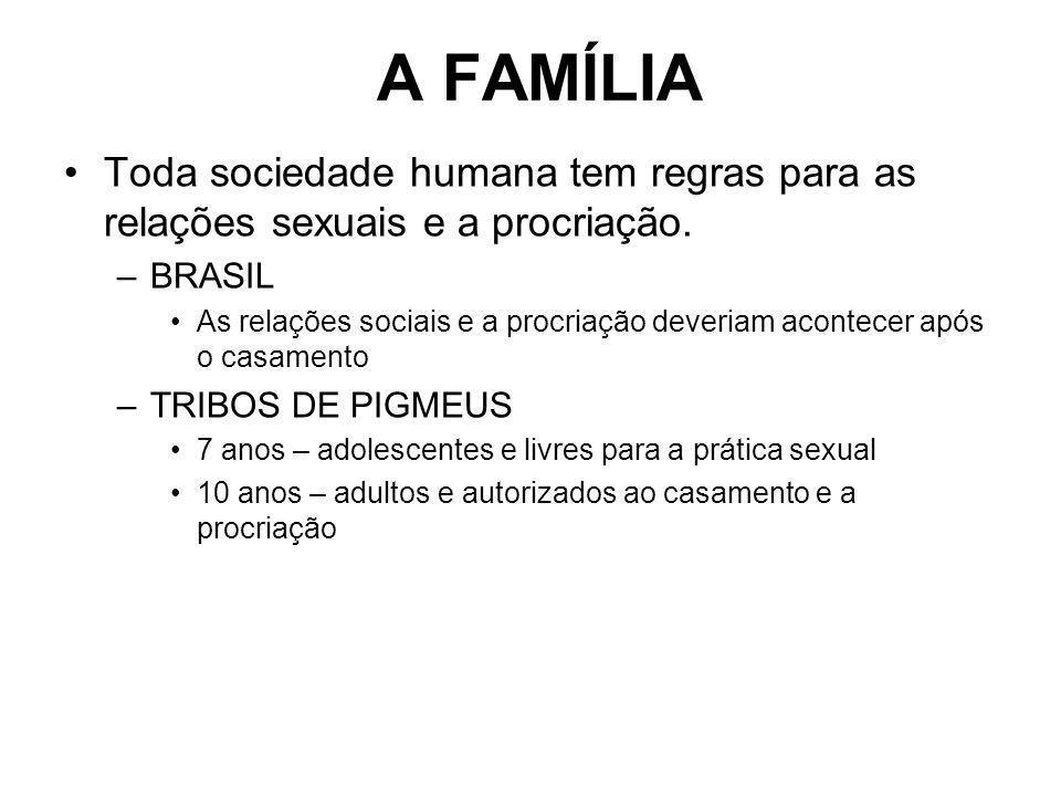 A FAMÍLIA Toda sociedade humana tem regras para as relações sexuais e a procriação. –BRASIL As relações sociais e a procriação deveriam acontecer após
