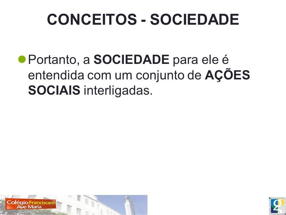 CONCEITOS - SOCIEDADE Portanto, a SOCIEDADE para ele é entendida com um conjunto de AÇÕES SOCIAIS interligadas.