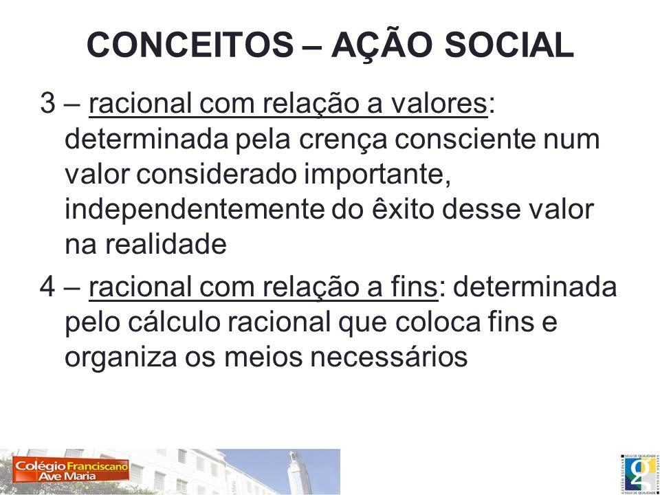 CONCEITOS – AÇÃO SOCIAL 3 – racional com relação a valores: determinada pela crença consciente num valor considerado importante, independentemente do