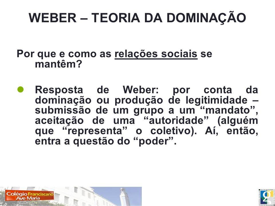 WEBER – TEORIA DA DOMINAÇÃO Por que e como as relações sociais se mantêm? Resposta de Weber: por conta da dominação ou produção de legitimidade – subm