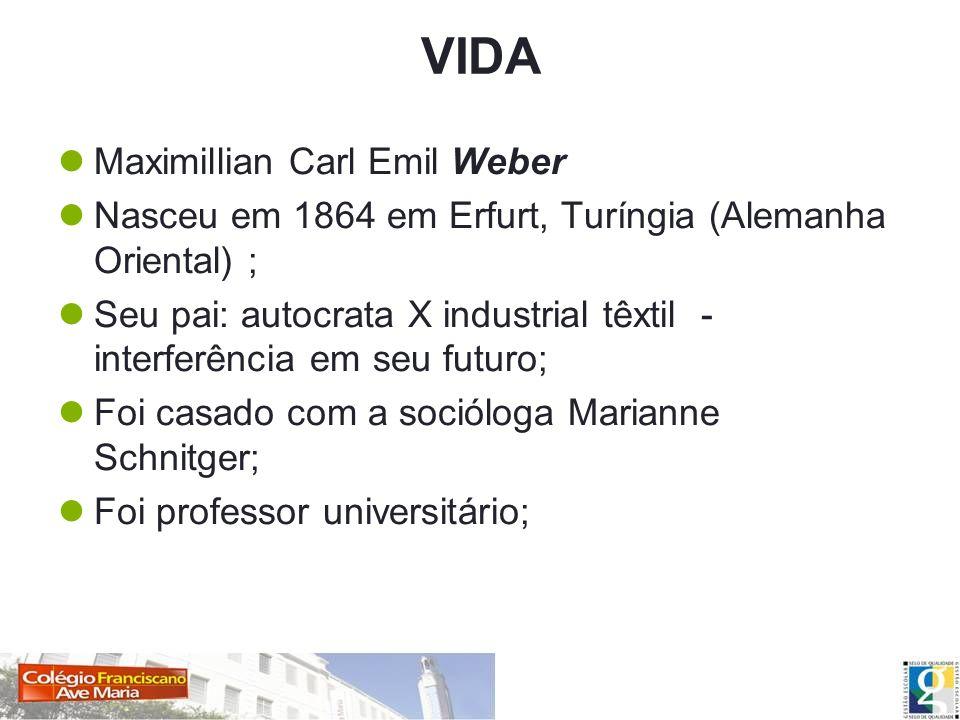 VIDA Maximillian Carl Emil Weber Nasceu em 1864 em Erfurt, Turíngia (Alemanha Oriental) ; Seu pai: autocrata X industrial têxtil - interferência em se