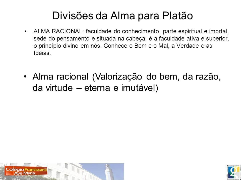 Divisões da Alma para Platão ALMA RACIONAL: faculdade do conhecimento, parte espiritual e imortal, sede do pensamento e situada na cabeça; é a faculda