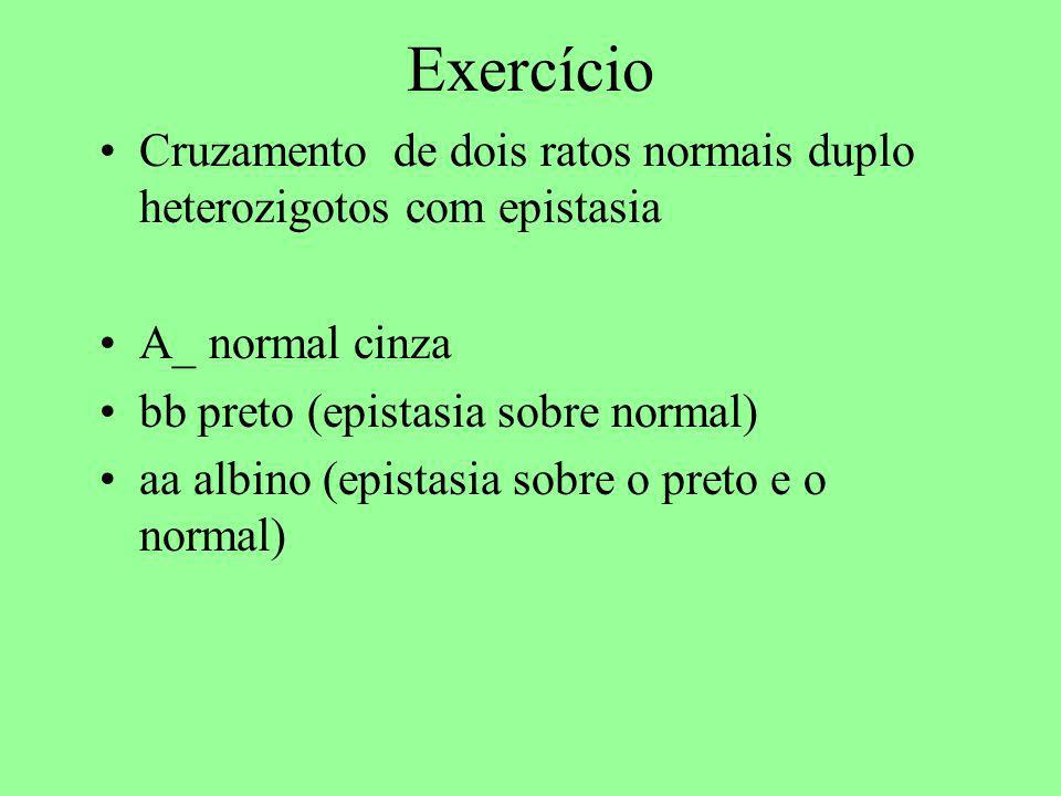 Exercício Cruzamento de dois ratos normais duplo heterozigotos com epistasia A_ normal cinza bb preto (epistasia sobre normal) aa albino (epistasia so