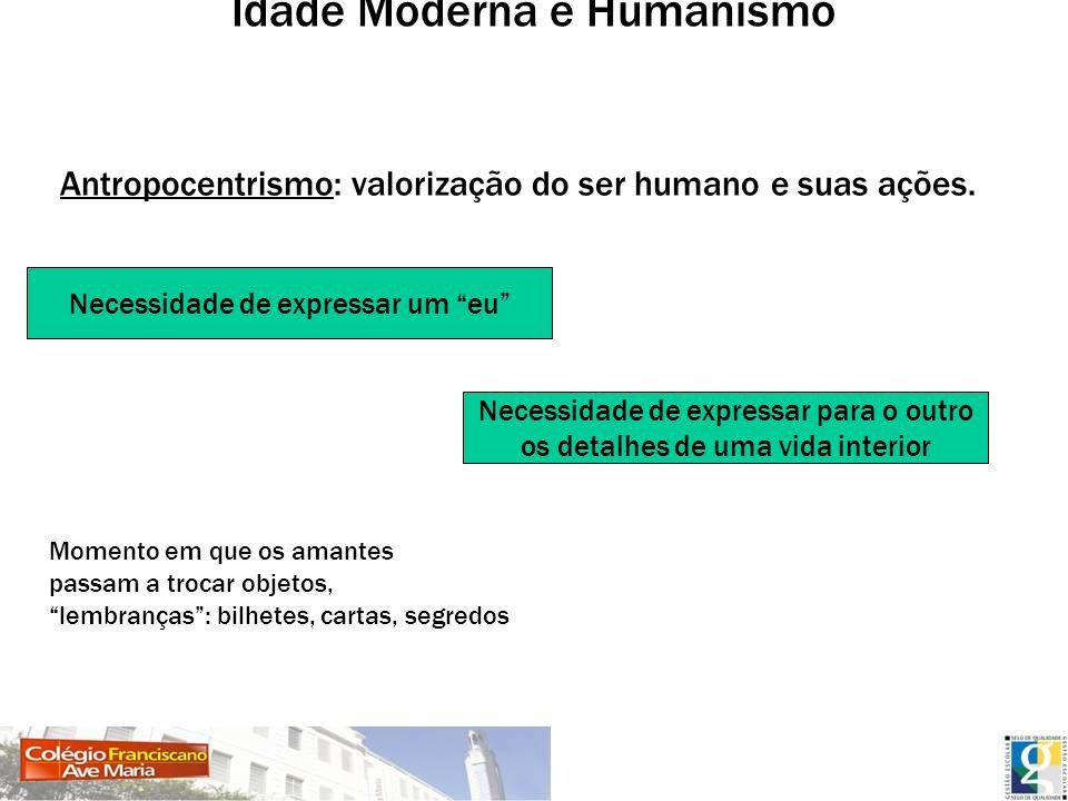 Idade Moderna e Humanismo Antropocentrismo: valorização do ser humano e suas ações. Necessidade de expressar um eu Necessidade de expressar para o out