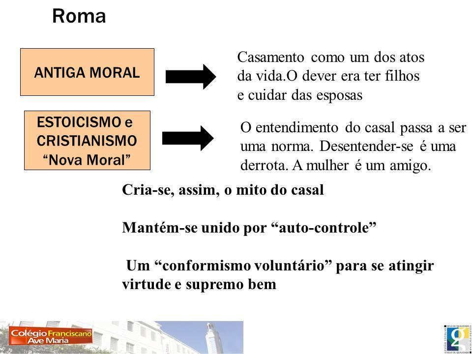 Roma ESTOICISMO e CRISTIANISMO Nova Moral ANTIGA MORAL Casamento como um dos atos da vida.O dever era ter filhos e cuidar das esposas O entendimento d