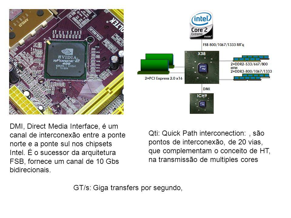 DMI, Direct Media Interface, é um canal de interconexão entre a ponte norte e a ponte sul nos chipsets Intel. É o sucessor da arquitetura FSB, fornece
