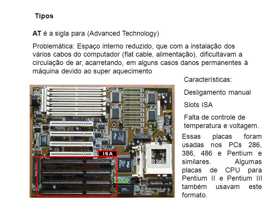 Tipos AT é a sigla para (Advanced Technology) Problemática: Espaço interno reduzido, que com a instalação dos vários cabos do computador (flat cable,