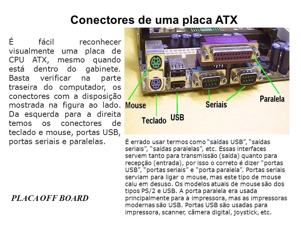 Conectores de uma placa ATX É fácil reconhecer visualmente uma placa de CPU ATX, mesmo quando está dentro do gabinete. Basta verificar na parte trasei