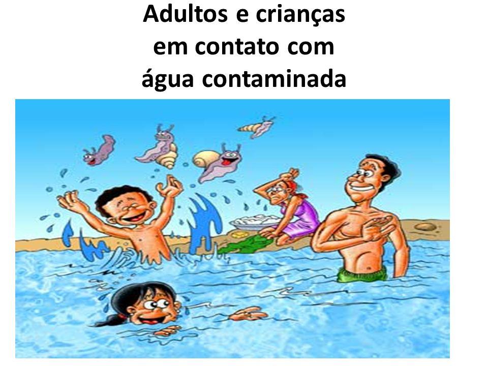 Adultos e crianças em contato com água contaminada