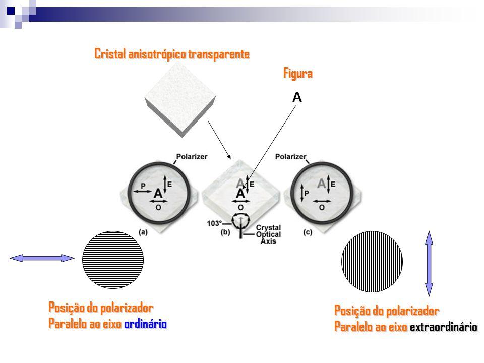 A Posição do polarizador Paralelo ao eixo extraordinário Posição do polarizador Paralelo ao eixo ordinário Cristal anisotrópico transparente Figura