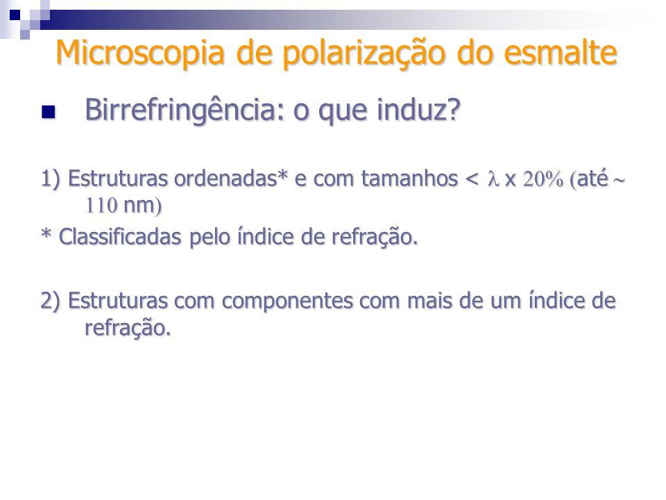 Microscopia de polarização do esmalte Birrefringência: o que induz? Birrefringência: o que induz? 1) Estruturas ordenadas* e com tamanhos < x até nm 1