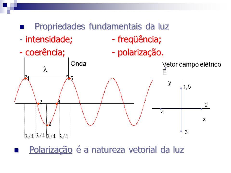 1 2 3 5 y x 1,5 2 3 4 Vetor campo elétrico E Onda Polarização é a natureza vetorial da luz Polarização é a natureza vetorial da luz Propriedades funda