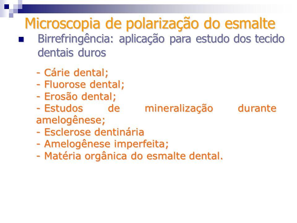 - Cárie dental; - Fluorose dental; - Erosão dental; - Estudos de mineralização durante amelogênese; - Esclerose dentinária - Amelogênese imperfeita; -