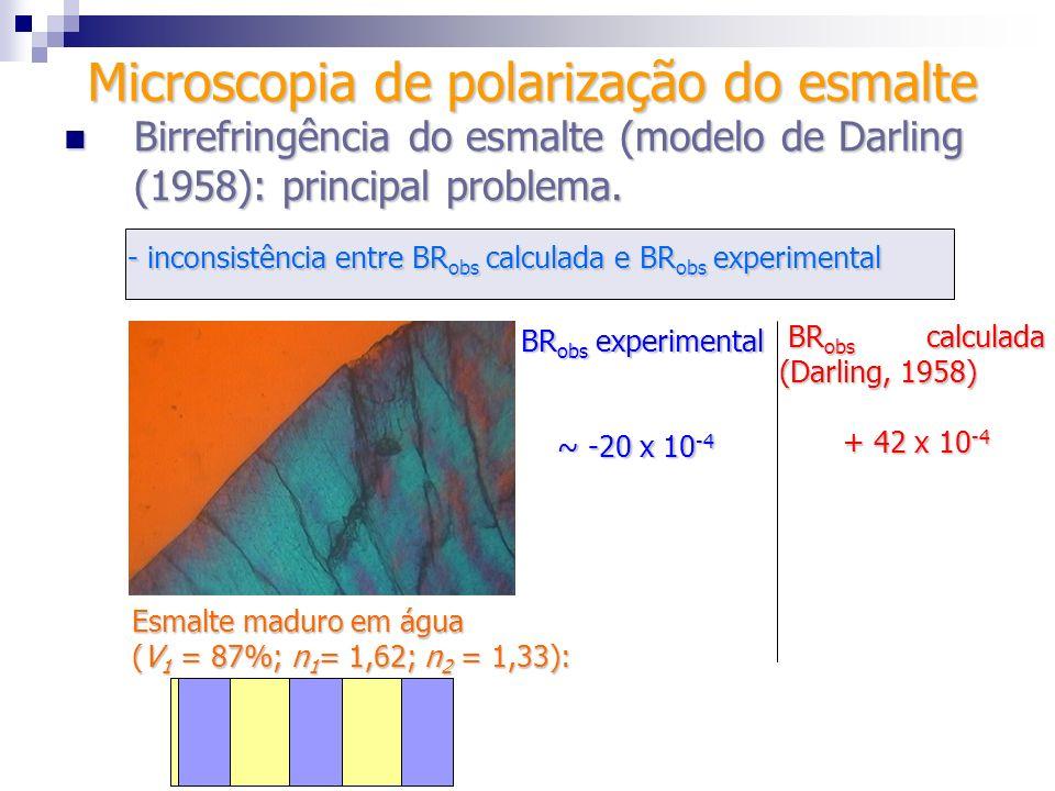 - inconsistência entre BR obs calculada e BR obs experimental BR obs experimental ~ -20 x 10 -4 ~ -20 x 10 -4 Microscopia de polarização do esmalte Bi