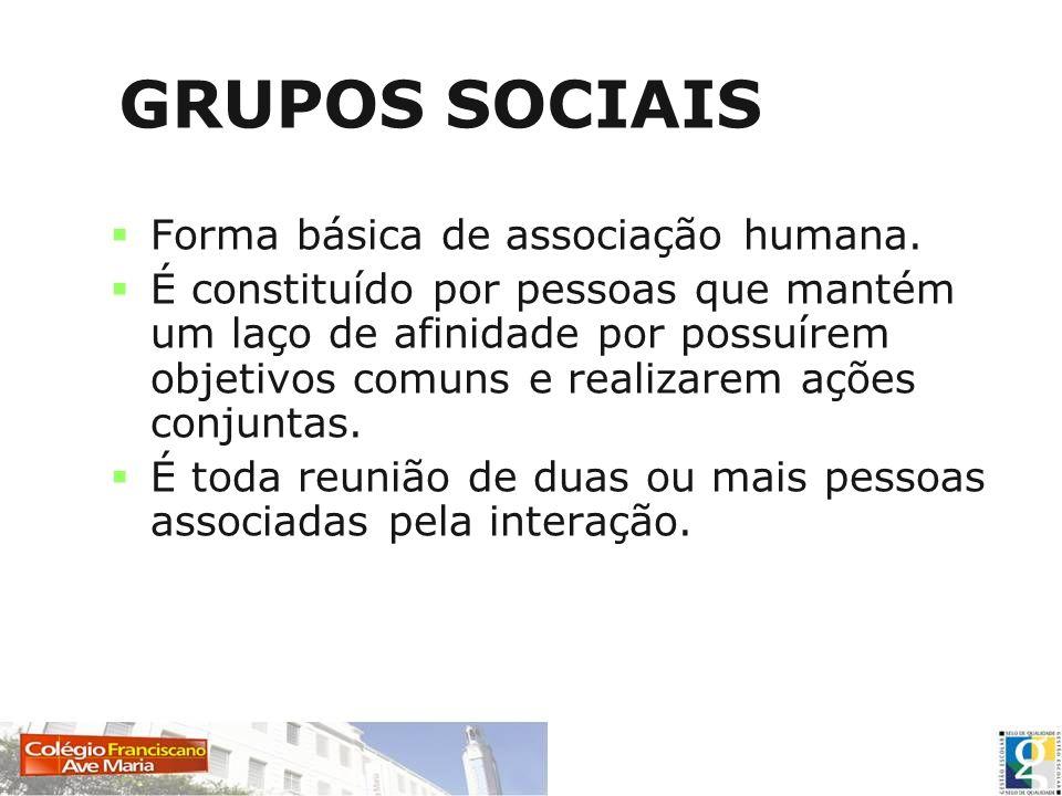 GRUPOS SOCIAIS Forma básica de associação humana. É constituído por pessoas que mantém um laço de afinidade por possuírem objetivos comuns e realizare