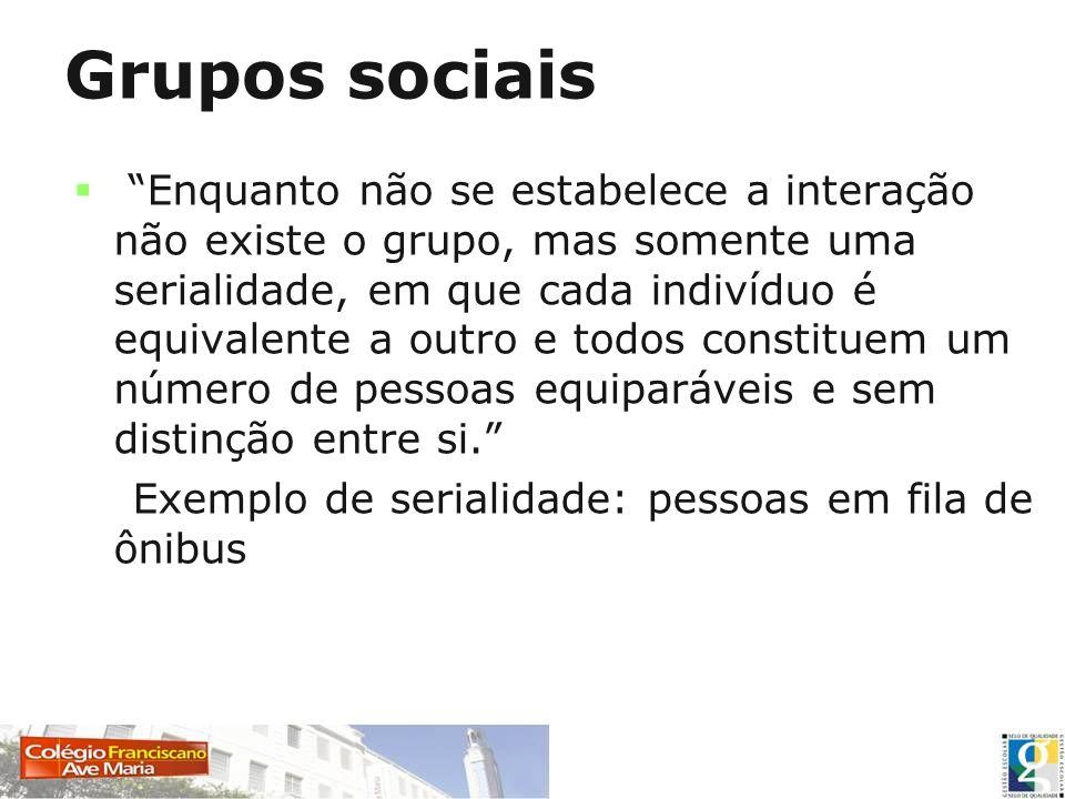 Grupos sociais Enquanto não se estabelece a interação não existe o grupo, mas somente uma serialidade, em que cada indivíduo é equivalente a outro e t