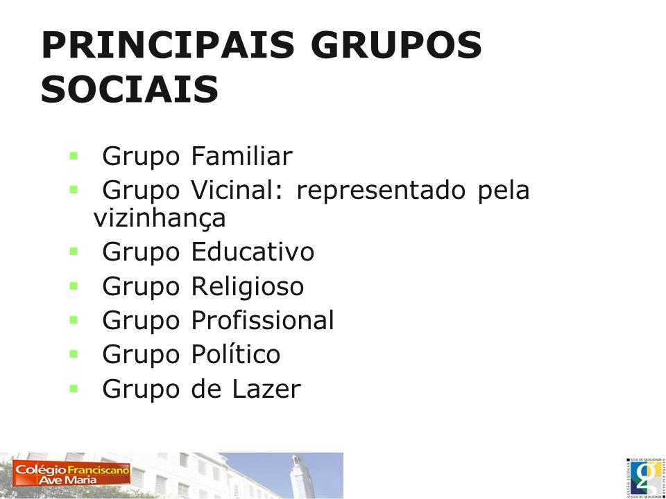 PRINCIPAIS GRUPOS SOCIAIS Grupo Familiar Grupo Vicinal: representado pela vizinhança Grupo Educativo Grupo Religioso Grupo Profissional Grupo Político