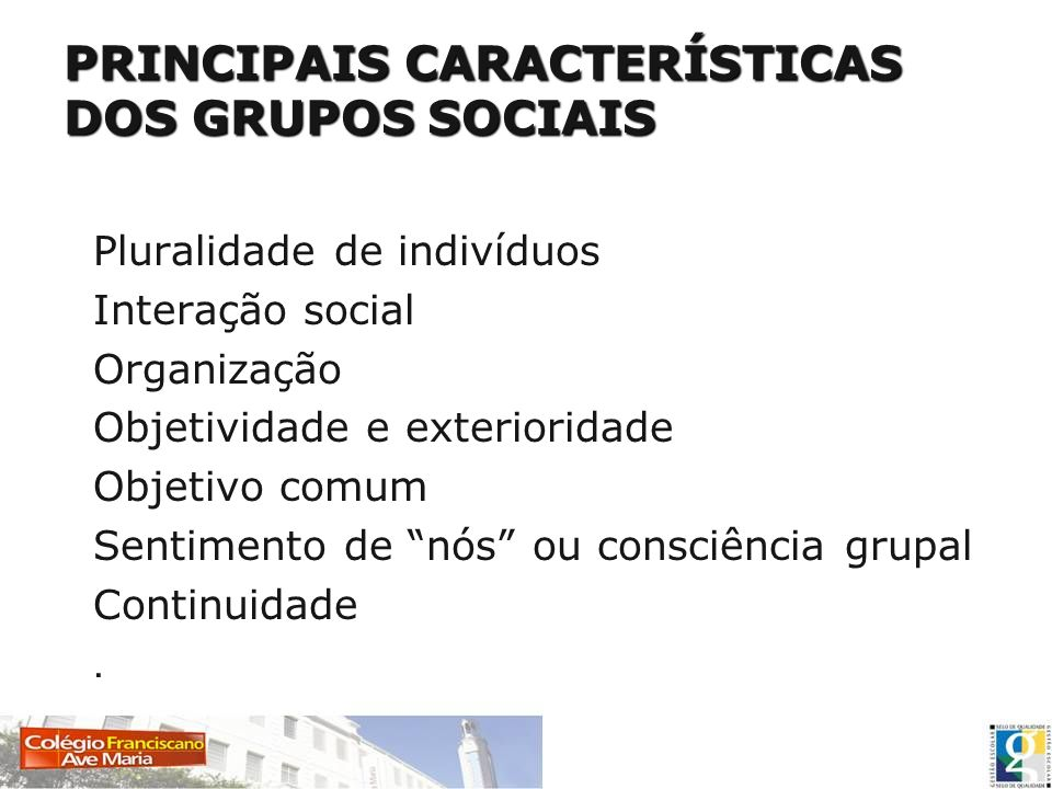PRINCIPAIS CARACTERÍSTICAS DOS GRUPOS SOCIAIS Pluralidade de indivíduos Interação social Organização Objetividade e exterioridade Objetivo comum Senti