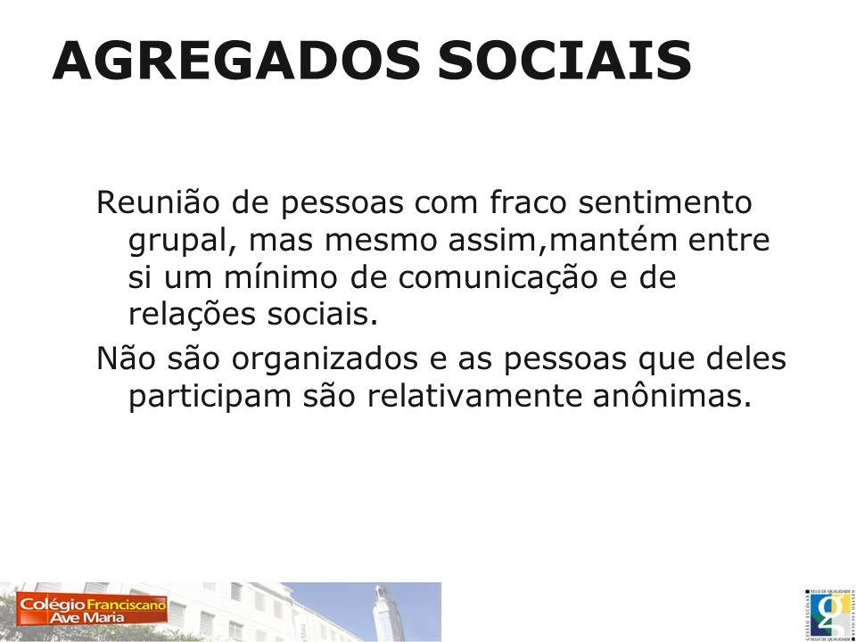 Tipos de agregados sociais MULTIDÃO Características: falta de organização; anonimato; objetivos comuns; indiferenciação; proximidade física.